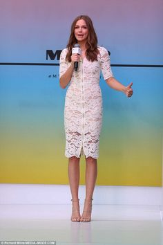Lace number:Ksenija Lukichcut a stylish figure as she flaunted her svelte frame at Myer's Runway Weekend fashion event in Sydney