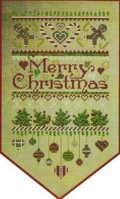 Merry Christmas Banner - Cross Stitch Pattern