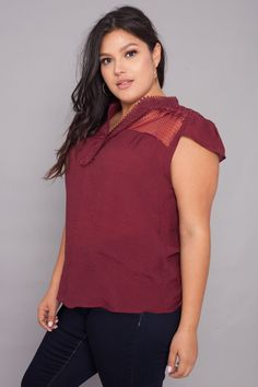 30a84d15227 Plus Size Embroidered Crochet Blouse - Burgundy Trendy Plus Size