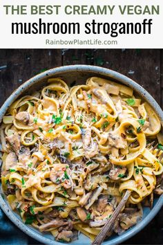Creamy Vegan Mushroom Stroganoff — Rainbow Plant Life This is the BEST vegan mushroom stroganoff you will ever try! It's packed with umami, is super flavorful, and is so creamy you won't believe it's dairy-free and vegan! It's the ultimate comfort food! Vegan Mushroom Stroganoff, Vegetarian Stroganoff, Vegan Mushroom Pasta, Stop Eating, Vegan Dinners, How To Cook Pasta, The Best, Vegetarian Recipes, Recipes