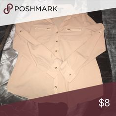 Blouse Tan with gold zippers n buttons finesse Tops Blouses