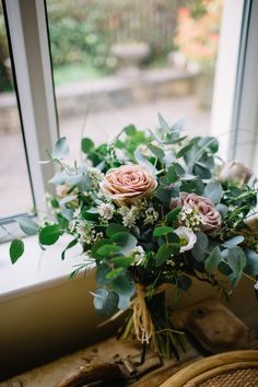 Eucalyptus Rose Bouquet Flowers Bride Bridal Brass Copper Music Filled Barn Wedding East Riddlesden Hall Yorkshire https://www.joestenson.co.uk/ #wedding #Eucalyptus #Rose #Bouquet #Flowers #Bride #Bridal