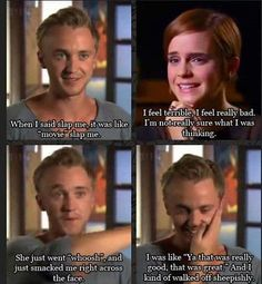 """Tom Felton and Emma Watson discuss Hermione punching Draco in """"Harry Potter and the Prisoner of Azkaban"""". Literally one of the best parts in the whole series! Harry Potter World, Mundo Harry Potter, Harry Potter Jokes, Harry Potter Cast, Harry Potter Fandom, Funny Harry Potter Pics, Harry Potter Stuff, Harry Potter Interviews, Tom Felton Harry Potter"""