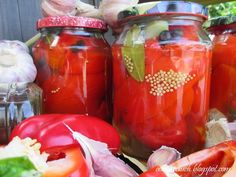 Papryka marynowana z miodem - Obżarciuch Stuffed Peppers, Vegetables, Stuffed Pepper, Vegetable Recipes, Stuffed Sweet Peppers, Veggies