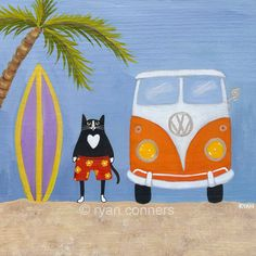 Surfs Up Beach Cat Folk Art Digital Print - KilkennycatArt  @ Etsy