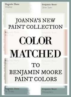 Fixer Upper Paint Colors: Magnolia Home Paint Color Matched to Benjamin Moore Fixer Upper's Joanna Gaines has a new paint line. And this site has color matched every color for you so you can get the fixer upper look at your local paint store! Fixer Upper Paint Colors, Matching Paint Colors, Fixer Upper White Paint, Interior Paint Colors, Paint Colors For Home, Paint Colours, Interior Painting, Interior Design, Furniture Paint Colors