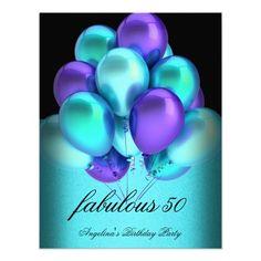 Teal Purple Fabulous Black Balloons Party Invitations by Zizzago.com