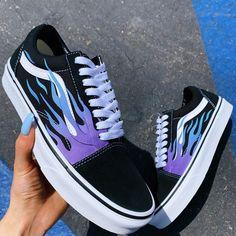 shoes sneakers vans old skool Blue Flame Black Canvas Old Skool - Vans Customisées, Tenis Vans, Adidas Shoes, Adidas Men, Shoes Skechers, Me Too Shoes, Women's Shoes, Van Shoes, Shoes Men