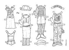 Karen`s Paper Dolls: Pia 1-3 Paper Doll to Colour. Pia 1-3 påklædningsdukke til at farvelægge.