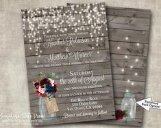 Wedding Invitation Burgundy Navy Pink Peonies Roses Floral Country Rustic Barn Wood String Lights Vintage Digital or Printed I customize it! Rustic Barn, Barn Wood, Etsy Cards, Beautiful Wedding Invitations, Burgundy Wedding, Response Cards, Pink Peonies, Navy Pink