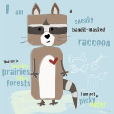 sneaky friend raccoon educational nursery kids canvas art. Perfect for little boys rooms, little girls rooms, neutral nursery and the animal lover.