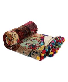Another great find on #zulily! Brown Velvet Patch Whimsical Kantha Throw #zulilyfinds