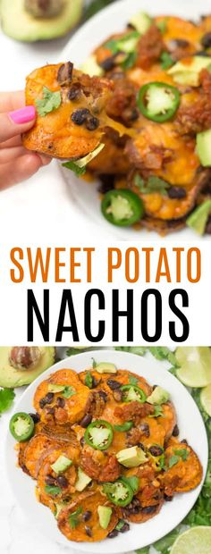 Loaded sweet potato nachos that are even better than traditional nachos! Healthy nachos with sweet potato, avocado, black beans, and melty cheese- what's not to love? Recipes on a budget Incredible Loaded Sweet Potato Nachos - Healthy Liv Sweet Potato Recipes Healthy, Sweet Potato Nachos, Healthy Potatoes, Loaded Sweet Potato, Healthy Recipes On A Budget, Healthy Meal Prep, Healthy Dinner Recipes, Vegetarian Recipes, Cooking Recipes