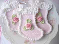 Faux Sugar Cookie Pink Stocking Ornaments by sweetnshabbyroses, via Flickr