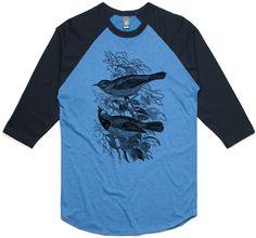 theIndie Forest Birds (Black) 3/4-Sleeve Raglan Baseball T-Shirt