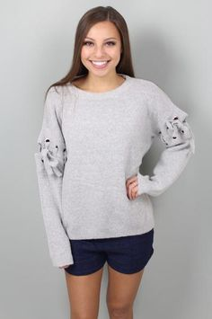 Now or Never Grey Knit Sweater: $48