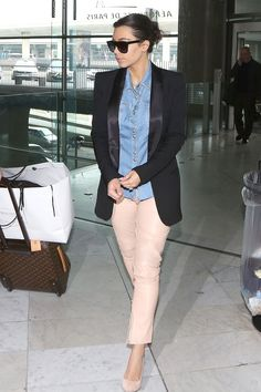 Feeling inspired - have a great Gap denim shirt, similar pink pants and black jacket! Just have to add Kim West confidence to kill the streets of New York.