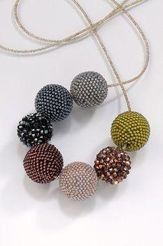 Beaded Beads in Fall Tones - bead crochet by Lynne Sausele