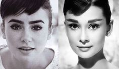 Lily Collins channels Audrey Hepburn. Loving the brows. Stunning.