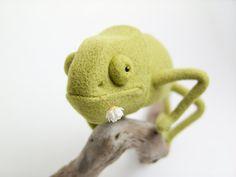 Needle Felted Miniature Chameleon by felttess on Etsy, $115.00