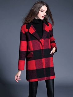 [ad] A timeless winter look: the Red Plaid Wool Loose Overcoat from METISU.