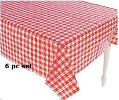 Amazon.com: (6) Plastic Red and White Checkered Tablecloths - 6 Pc - Picnic Table Covers: Toys & Games