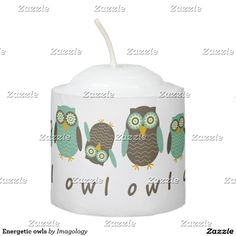 Energetic owls votive candle