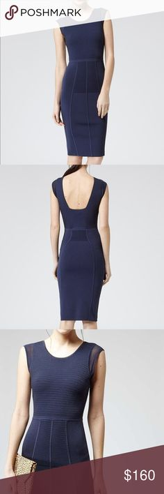 Reiss Fluxy Knit Bodycon Dress. Navy. Sheer sleeve Reiss knit bodycon dress in navy. Panel skirt detail with a sexy scoop back. Can be worn dressed up or down. Sexy yet still elegant. The dress is in excellent condition. (The discoloration that you see from the waist down is a bit of light coming through the trees.) Reiss Dresses Midi