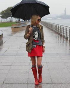 Jacket: Zara. Gingham Shirt:Madewell. Sweater:Topshop. Skirt: Zara. Socks:Madewell. Boots:Hunter. Sunglasses:Karen Walker