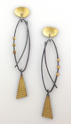 "Narrow Oval Earrings, Elaine Rader ""For that elegant evening out...Light weight and full of movement! Dark oxydized sterling and 22K gold on French ear wires. (approx. as shown 3 1/4"")"" $265.00 © 2015 Elaine Rader Jewelry"