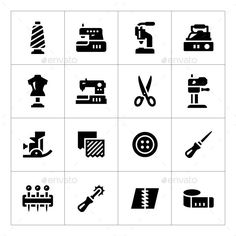 Set Icons of Sewing (Photoshop PSD, JPG Image, Vector EPS, AI Illustrator, CS, awl, button, cloth, clothes, collection, craft, design, equipment, fabric, fashion, icons, illustration, industry, iron, isolated, machine, mannequin, meter, needlework, overlock, pin, scissors, seam, set, sew, sewing, symbol, tailor, tailoring, textile)