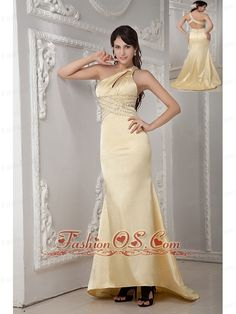 Unique Light Yellow Column Prom Dress One Shoulder Satin Beading Brush Train    http://www.fashionos.com  http://www.facebook.com/quinceaneradress.fashionos.us   satin one shoulder prom dress | beaded prom dress in light yellow | satin prom dress for graduation | brush train and fitted prom dress | unique yellow prom dress | light yellow satin prom for formal evening | sweet one shoulder prom dress for sale | beaded satin prom dress with fitted bodice |