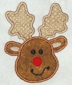 Reindeer Applique - Create your own Onesie/Tee!  This cute 4 inch Reindeer applique is super cute for boys and girls holiday outfits! Uses a light brown and chocolate brown corduroy fabric for the face and antlers!