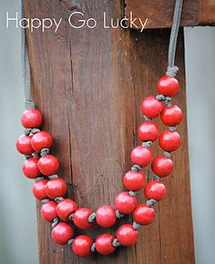 beads and suede cording w/ knots - I could make this!