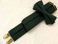 Dark Green Suspenders and Dark Green Bow Tie. Bridal Color Dark Green. Sizes Infant-Adult. Free Fabric Sample Available.