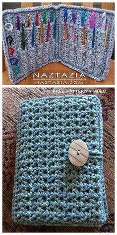 Most up-to-date Absolutely Free crochet hook storage Thoughts Crochet Hook Holder Case Free Pattern Video Tutorial Diy Crochet Hook Case, Crochet Stitches Free, Crochet Tools, Crochet Needles, Crochet Blanket Patterns, Crochet Crafts, Crochet Hook Sizes Chart, Free Crochet, Diy Crochet Projects