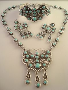 Taxco Mexican Sterling Silver Turquoise Butterfly Necklace, Bracelet and Earrings. Mexico | eBay