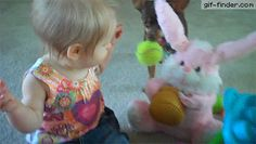 Cute Baby Girl Dances with Easter Bunny Toy | Gif Finder – Find and Share funny animated gifs
