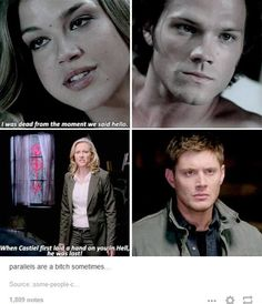 Do you know how many parallels there are between Sam+Jess and Dean+Cas?! It makes me cry every time..