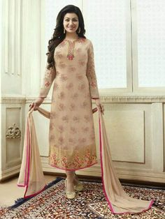 Beige palazzo kameez with dupatta. Work - Embroidery and buttis with printed bottom and embroidered dupatta. Kameez length is approximately inches. Matching bottom and dupatta comes with this. Adah Sharma, Palazzo Suit, Salwar Kameez, Churidar, Party Wear Dresses, Suits For Women, Designer Dresses, Bollywood, Beige