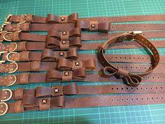 Custom Dog Collars, Dog Collars & Leashes, Leather Dog Collars, Diy Leather Projects, Leather Craft, Dog Rooms, Beaded Collar, Leather Flowers, Dog Birthday