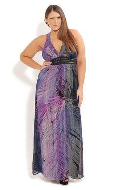 Plus Size Hypnotic Feather Maxi Dress - City Chic - City Chic