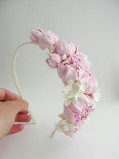 Headband. Handmade flowers. Flowers. Handmade accessories. Accessories. Hair accessories. Wedding flowers. Wedding accessories. Wedding. Hair accessories. Hair flowers. Peony.