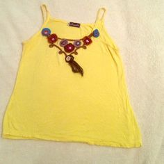 Ariella yellow tank top summer yellow crochet flowers and silver design very unique top/ Size M. Worn twice in perfect condition.  Buy now!!! Ariella Tops Tank Tops