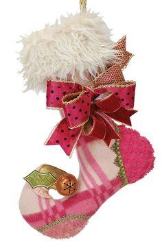 Repurposed wool Christmas stocking, Scarlett. Limited edition. lenaemay.com