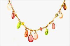18 KARAT GOLD NECKLACE WITH MULTI-COLOURED TOURMALINE DROPS. Necklace Designs, Gold Necklace, Necklaces, Color, Jewelry, Gold Pendant Necklace, Jewlery, Jewerly, Colour