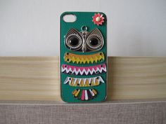iPhone Case -- Silver Brass OWL and Pink Flowers with Green PU Leather iPhone 4 Case -- iPhone 4s Case -- OWL060  www.ledereniphonehoesjes.nl
