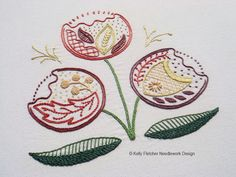 Regality Modern Jacobean crewel hand embroidery pattern - modern embroidery PDF…
