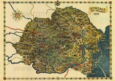 Romanian tourism map of 1938 Romania Facts, Romania Map, Romania Travel, Tourist Map, Tourist Places, Vintage Compass Tattoo, Liberia Africa, Places Worth Visiting, Old Maps