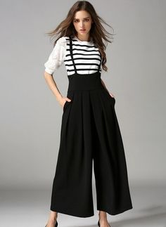 Black High Waist Wide Leg Pants Casual Lace Up Overalls Women Pant Spring Autumn Summer Flare Trousers Wide Leg Palazzo Pants, Wide Leg Pants, Fashion Pants, Fashion Dresses, Suspender Pants, Pantalon Large, Overalls Women, Mode Style, Casual Looks